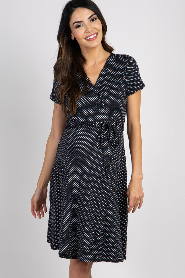 Black Polka Dot Wrap Sash Tie Maternity Dress