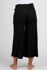 Black Ribbed Knit Cropped Wide Leg Maternity Lounge Pants
