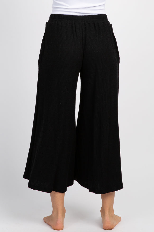 Black Ribbed Knit Cropped Wide Leg Lounge Pants
