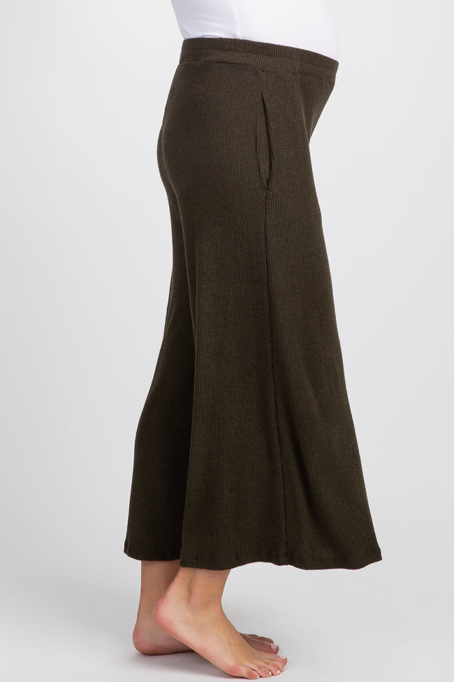 Olive Ribbed Knit Cropped Wide Leg Maternity Lounge Pants