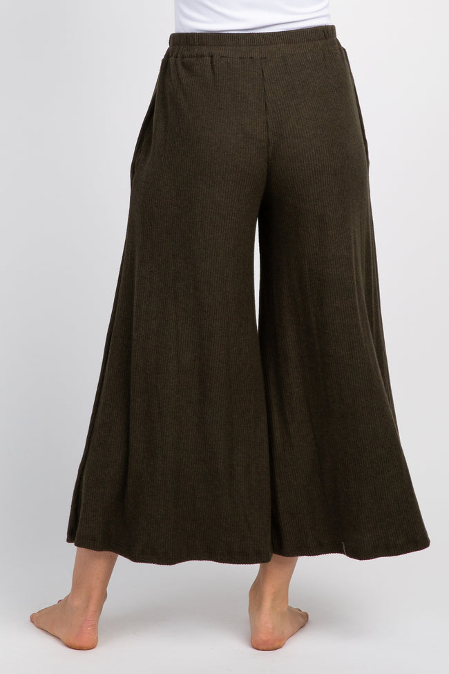 Olive Ribbed Knit Cropped Wide Leg Lounge Pants
