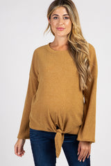Mustard Ribbed Front Knot Knit Maternity Top
