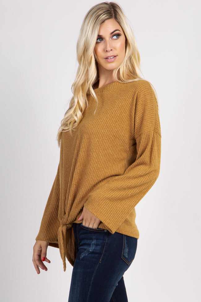 Mustard Ribbed Front Knot Knit Top