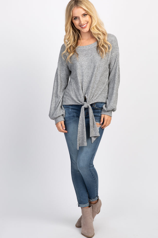 Heather Grey Soft Knit Tie Front Long Sleeve Top