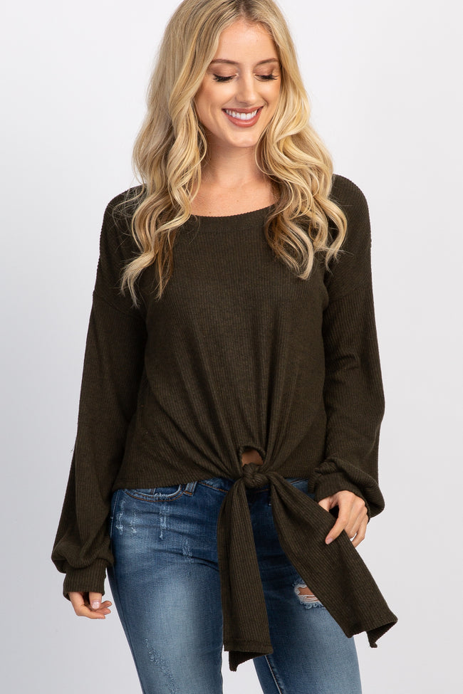 Olive Soft Knit Tie Front Long Sleeve Top