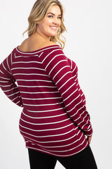 Burgundy Off Shoulder Tie Front Plus Maternity Top