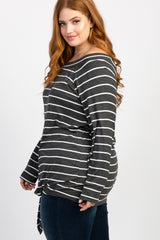 Charcoal Grey Off Shoulder Tie Front Plus Top