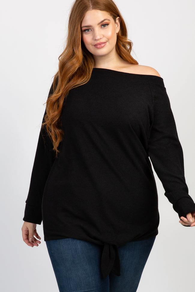 Black Off Shoulder Tie Front Plus Maternity Top