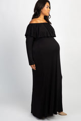 Black Solid Off Shoulder Ruffle Maternity Plus Maxi Dress