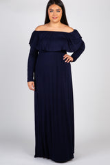 Navy Solid Off Shoulder Ruffle Plus Maxi Dress