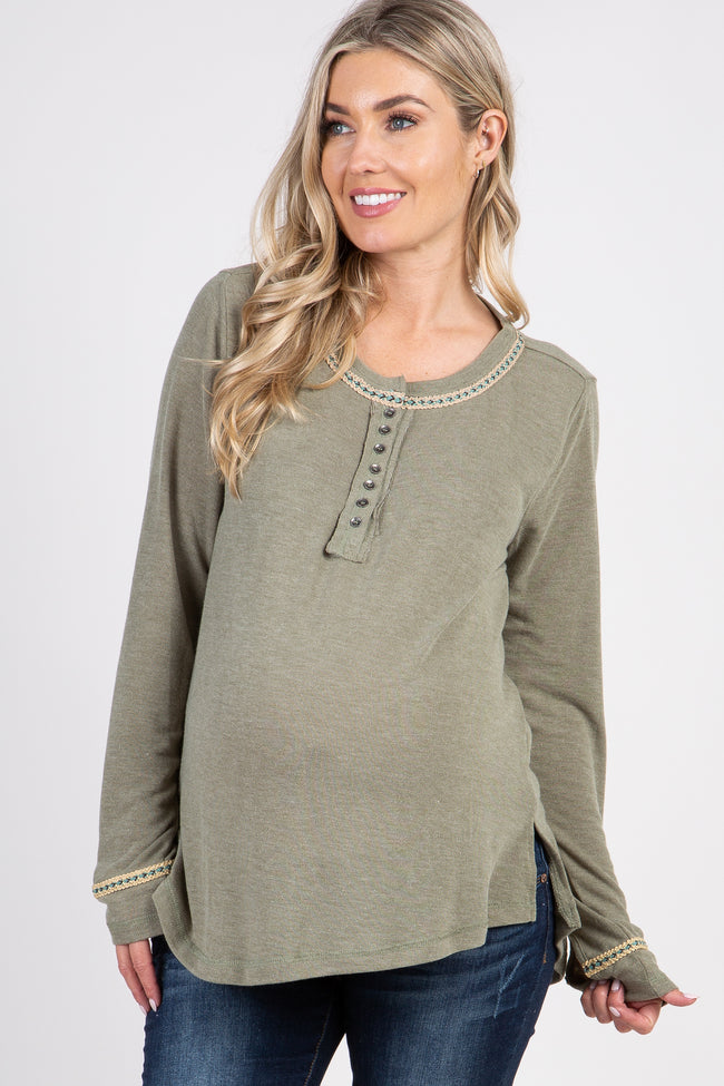 Olive Henley Knit Top