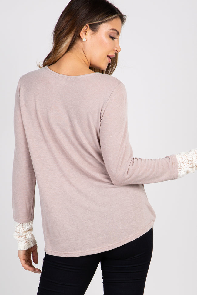 Taupe Lace Up Wrap Top