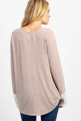 Taupe Lace Up Wrap Maternity Top