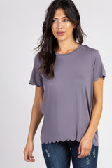 Charcoal Solid Scalloped Hem Maternity Top