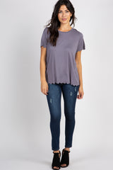 Charcoal Solid Scalloped Hem Top