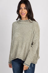 Light Olive Chenille Funnel Neck Dolman Sleeve Sweater