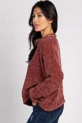 Rust Chenille Funnel Neck Dolman Sleeve Sweater