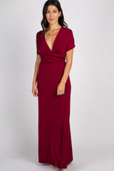 Burgundy Solid Pleated Convertible Maxi Dress