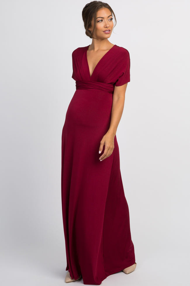 Burgundy Solid Pleated Convertible Maternity Maxi Dress