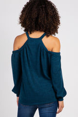 Green Open Shoulder Halter Neck Knit Maternity Top