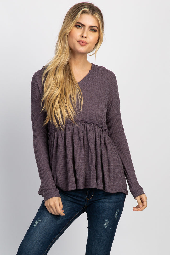 Purple Waffle Knit Hooded Peplum Maternity Top
