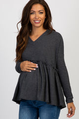 Charcoal Waffle Knit Hooded Peplum Maternity Top
