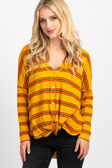 Mustard Striped Button Down Front Tie Top