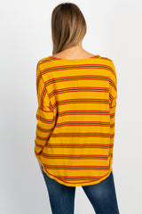 Mustard Striped Button Down Front Tie Maternity Top