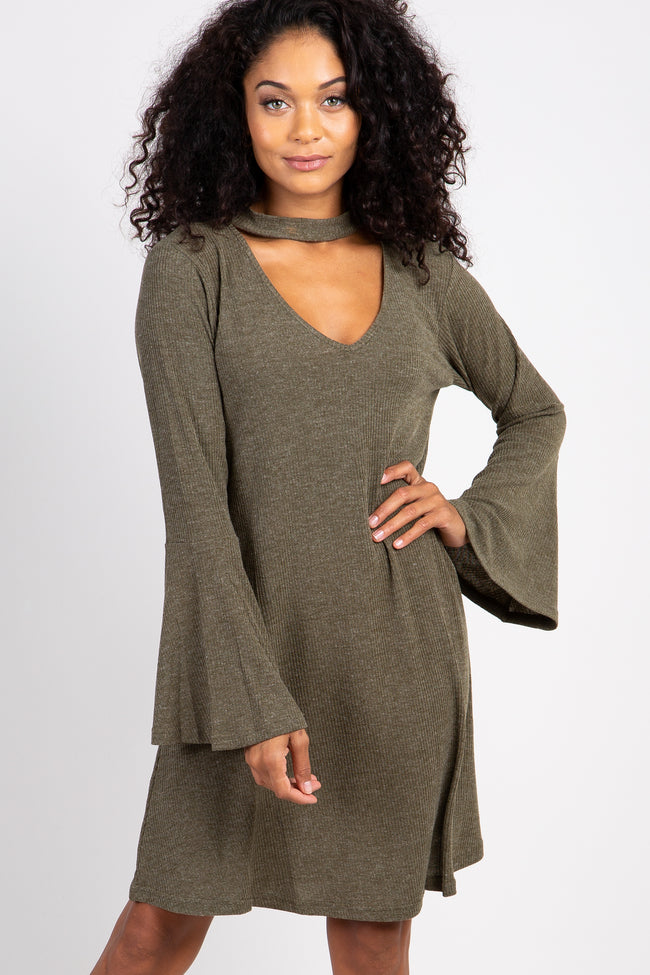 Olive Cutout Bell Sleeve Shift Dress
