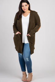 Olive Solid Knit Elbow Patch Plus Cardigan
