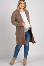 PinkBlush Taupe Solid Knit Elbow Patch Plus Cardigan