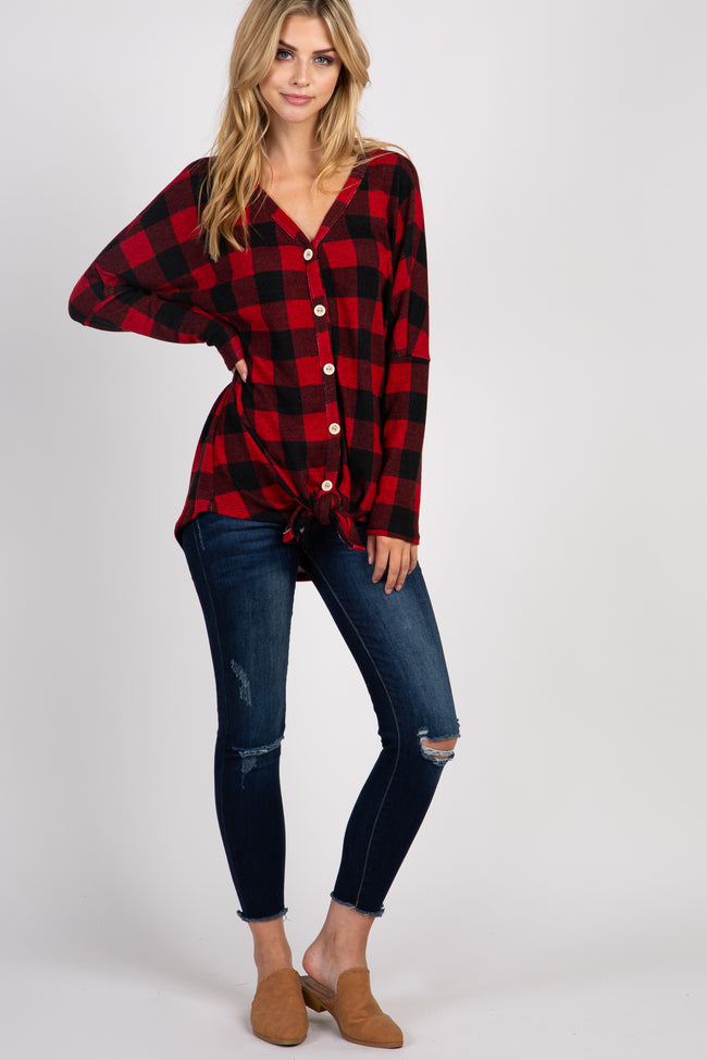 Red Plaid Button Accent Front Tie Maternity Top