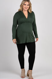 Forest Green Long Sleeve Plus Maternity/Nursing Wrap Top