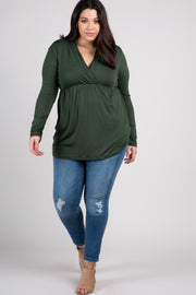 Forest Green Long Sleeve Plus Nursing Wrap Top