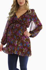 Brown Floral Chiffon Maternity Top