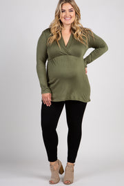 Olive Green Long Sleeve Plus Maternity/Nursing Wrap Top