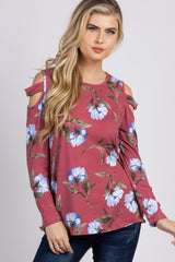 Mauve Floral Cutout Sleeve Maternity Top