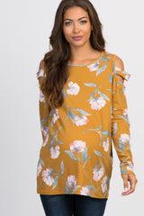 Yellow Floral Cutout Sleeve Maternity Top