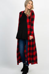 Red Plaid Long Duster Maternity Cardigan