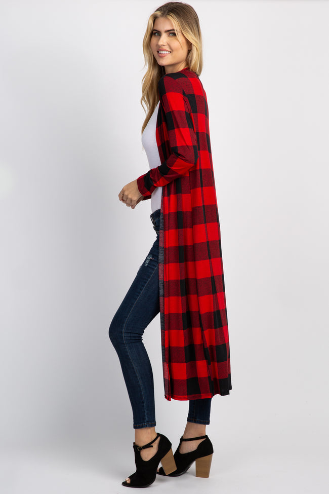 Red Plaid Long Duster Cardigan