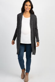 PinkBlush Charcoal Knit Elbow Patch Maternity Cardigan