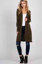 Olive Solid Elbow Patch Cardigan