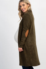 Olive Solid Knit Elbow Patch Maternity Cardigan