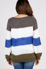 Olive Multi-color Striped Maternity Knit Sweater