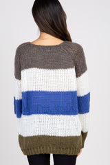 Olive Multi-color Striped Knit Sweater