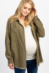 Olive Frayed Corduroy Button Up Maternity Top