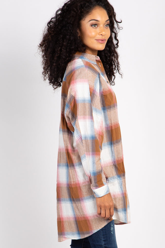 Camel Plaid Button Up Top