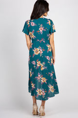 Dark Teal Floral Hi Low Maxi Dress