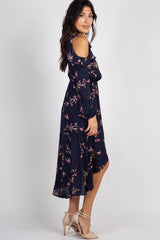 Navy Blue Floral Hi Low Wrap Maxi Dress