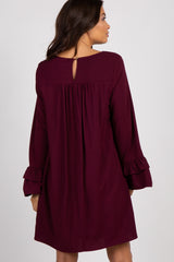 Burgundy Embroidered Ruffle Sleeve Maternity Dress
